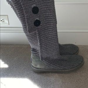Tall gray knit UGG boots